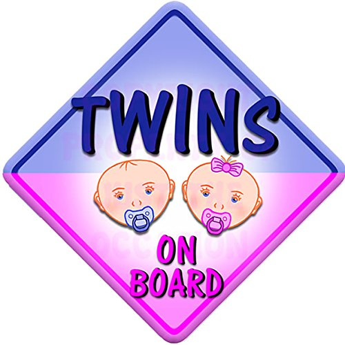 BABY FACE BOY AND GIRL TWINS Non personalised novelty baby on board car window sign. Just The Occasion