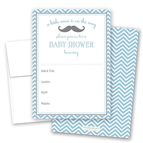 24 Cnt Little Mustache Blue Chevrons Fill-in Baby