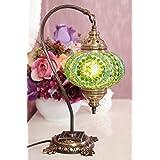 New* BOSPHORUS Stunning Handmade Swan Neck Turkish Moroccan Mosaic Glass Table Desk Bedside Lamp Light with Bronze Base (Green)