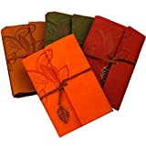 KitMax (TM) Vintage PU Leather Bound Writing Journal Book Personalized Hardcover Travel Diary Notebook with Hollow Leaf Pendant Gift for Students Children, Orange