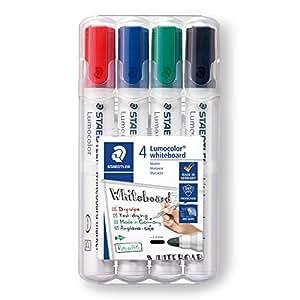 Staedtler 351 WP4 - Rotuladores para pizarra blanca Lumocolor, inodoro, secado rápido y recargable, paquete de 4 colores