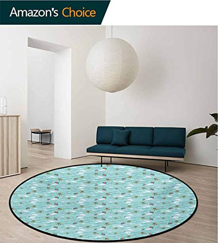 - RUGSMAT Baby Round Kids Rugs,Funny Bear On Ladder Trying to Reach The Kite in Sky Clouds Kids Nursery Cartoon Non Skid Nursery Kids Area Rug for Bedroom Machine Washable,Diameter-24 Inch