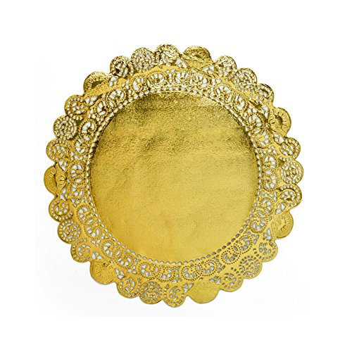 3 1/2 Inch Gold Metallic Round Doilies -250 Pack -