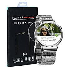 Huawei Watch Screen Protector(2 PACK), Qosea Ultra-thin 2.5D 9H Hardness Crystal Clear Scratch Resistant Tempered Glass Screen Protector for Huawei Watch