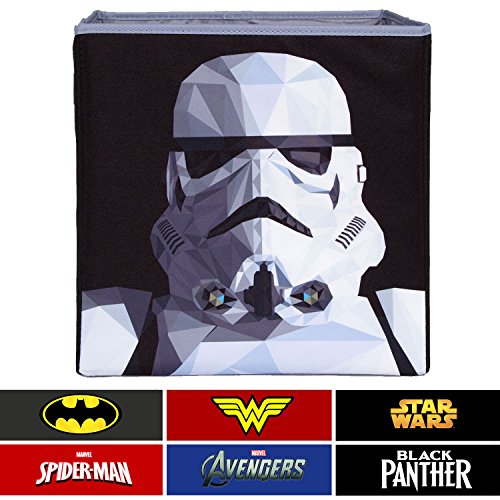 Everything Mary Storm Trooper Collapsible Storage Bin by Disney - Cube Organizer for Closet, Kids Bedroom Box, Playroom Chest - Foldable Home Decor Basket Container with Strong Handles and (Marvel Storage System)