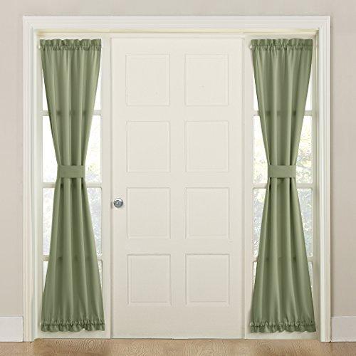 Sun Zero Barrow Front Door Sidelight Curtain Panel with Tie Back, 26