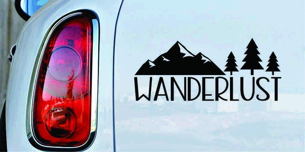 Wanderlust Mountain 3 Trees Version 1 Car Vinyl Sticker Decal Bumper Sticker for Auto Cars Trucks Windshield Custom Walls Windows Ipad MacBook Laptop Home and More (Black)
