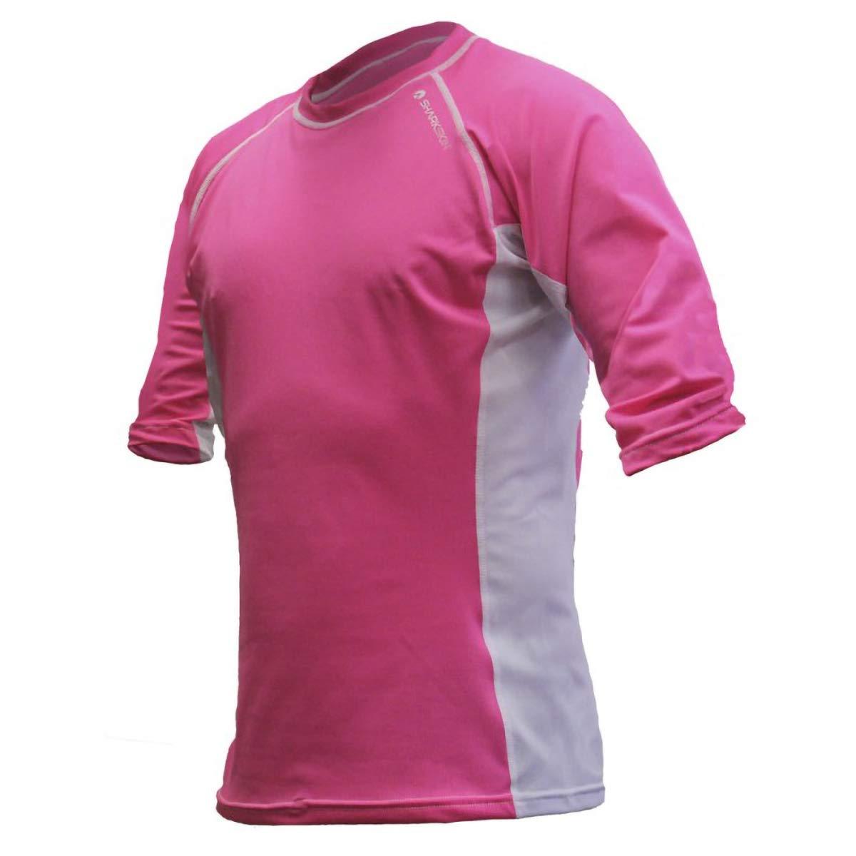 Sharkskin Rapid Dry Range Short Sleeve, Pink/White, Size: Medium by Sharkskin