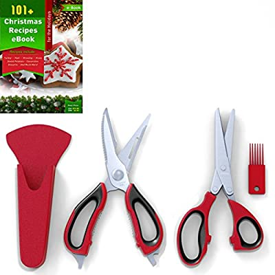 Kitchen Herb Shears (5 Blades) and Multi-purpose Kitchen Scissors Set, Red and Black, Stainless Steel, Plus 121 Cooking Secrets Ebook