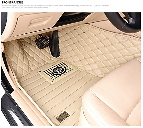 OkuTech Custom Fit XPE Leather All Full Surrounded Waterproof Car Floor Mats for Mercedes Benz S Class S280 S300 S320 S350 S500 S350L S300L, Beige Embroidering Sewing