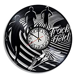Lepri4ok Track and Field Sport Vinyl Record Wall Clock, Cross Country Running Gift for Any Occasion, Track and Field Art