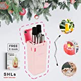 Cheap SHLs Collapsible Stainless Steel Drinking Straw | Reusable & Eco-friendly Silicone Straw with Case & Cleaning Brush | Perfect Gift & Present (Pink)
