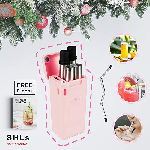 SHLs Reusable Stainless Steel Drinking Straw | Collapsible & Eco-Friendly Silicone Straws with Hard Case & Cleaning Brush | Perfect Holiday & New Year Gift for Loved Ones (Pink) -