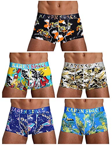 Arjen Kroos Men's Low Rise Printed Boxer Briefs Trunks Underwear (Small/26.8-29.9 inch, Multicolor(5-Pack)-2)