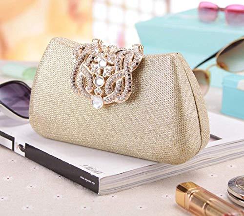 Crossbody colore Dimensione Taglia Del Modo Della Black Dell'europa Diamante Gold Unica Clutch Borsa Di Shopping Sera BfrBnxTqpw