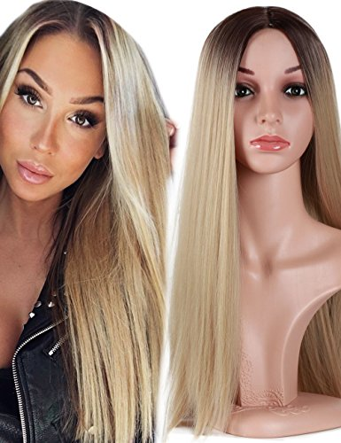 Fani Wigs Ombre Wig Blond Long Straight Non-Lace Front Middle Part Dark Brawn Roots Heat Resistant Synthetic Daily&Cosplay Full Wig for Women