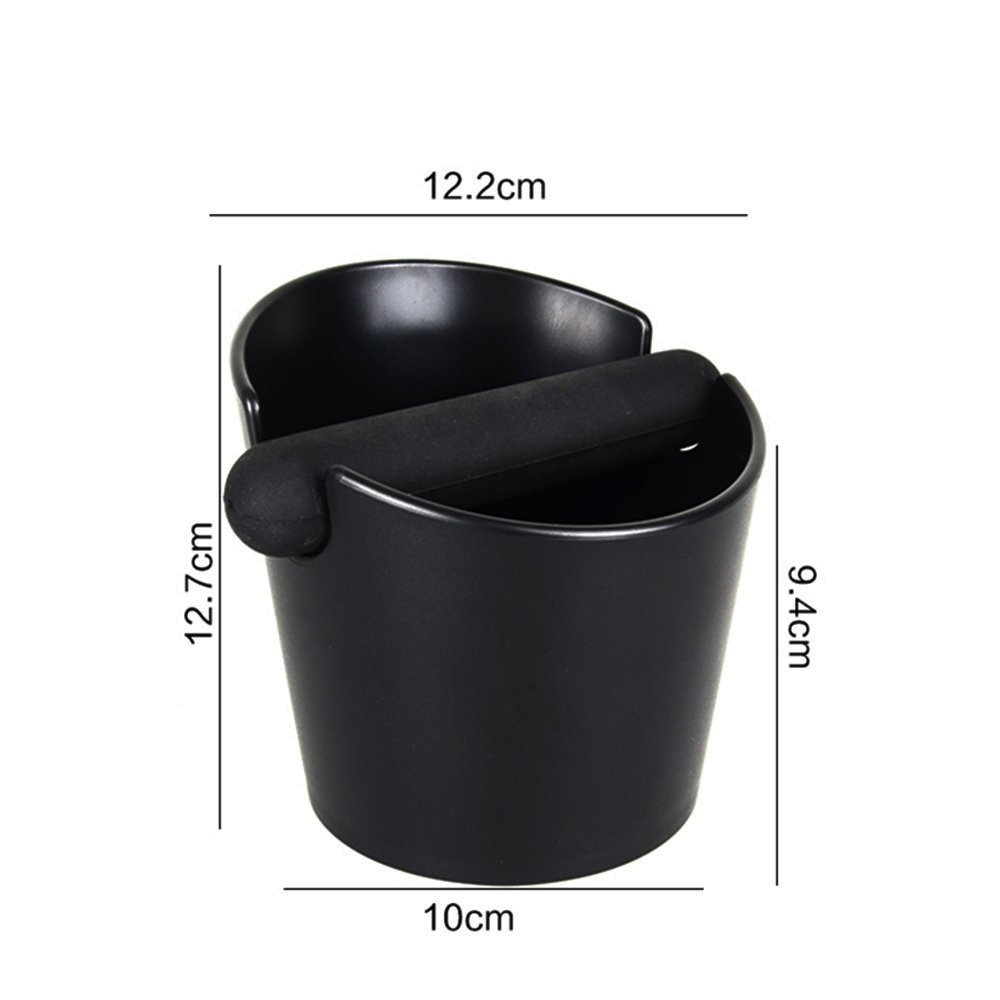 Espresso Knock Box, Coffee Knock Box for Barista ABS Coffee Grind Knock Box Espresso Dump Bin Grind Waste Bin with Detachable Knock Bar (Black)