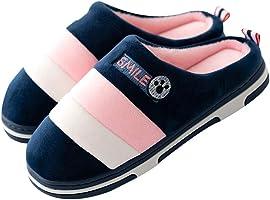 Men's Ladies Slippers Winter Warm Plush Soft Cozy Slipper Stripes Anti-Slip Indoor Shoes on Home
