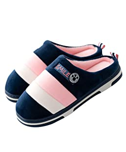 Men's Ladies Slippers Winter Warm Plush Soft Cozy Slipper Stripes Anti-Slip Indoor Shoes on Home(Pink1 38/39)