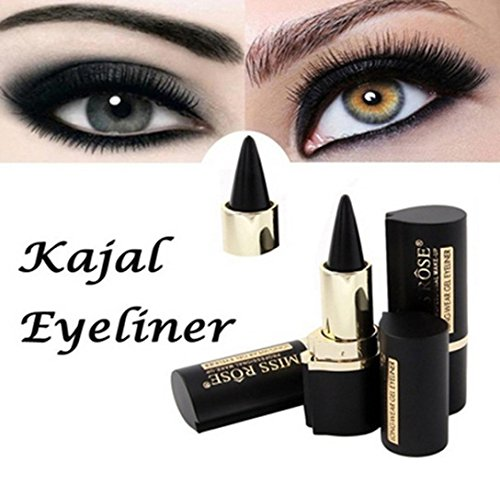 Quartly Wateroroof Smoky Eyes Eyeliner Eyes Pencil Gel Eye Liner Stickers Thick Black Bold Eyes Liner Gel Pencil Cosmetic Makeup (Black)