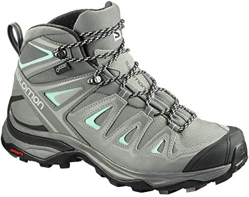 Salomon Women's X Ultra 3 Mid GTX Hiking Boots, SHADOW/Castor Gray/Beach Glass, 8.5