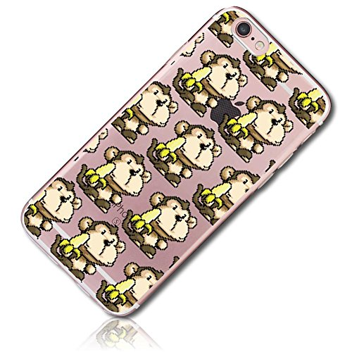 Mysimple Custom Made Flex Gel Silicone Fitted Case For Apple Iphone 6 Plus   6S Plus W  Soft Flexible Shock Absorbing Bumper Guard Edge   Monkeys Holding Peeled Bananas  Clear  Black  Brown   Yellow