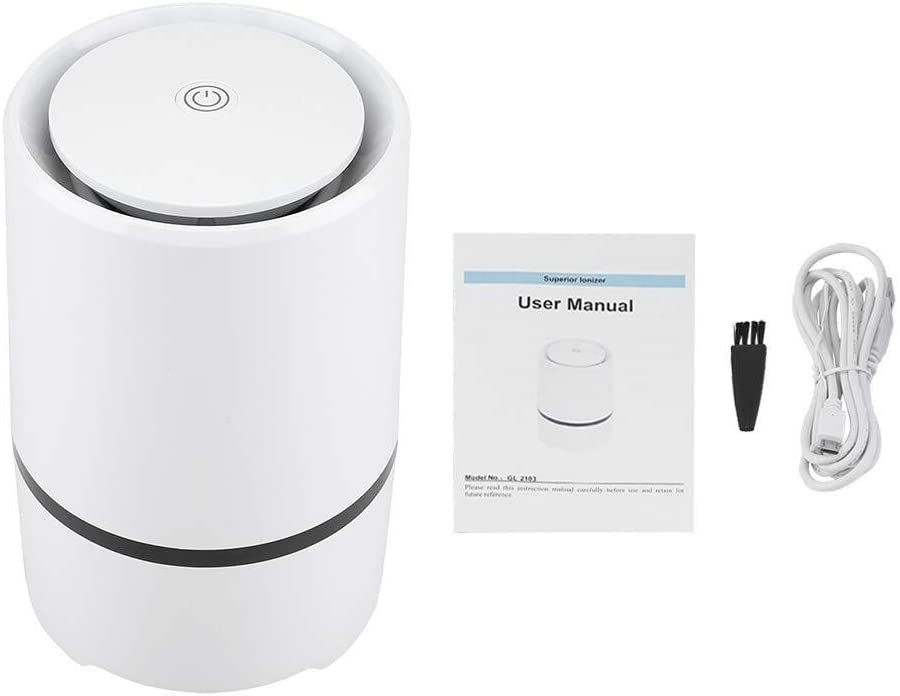 Purificador de Aire Inteligente USB, máquina de Iones de respiración Saludable Filtros de carbón Activo Eliminador de alergias de Olor for Polvo de Oficina en el ...