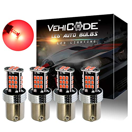 (VehiCode Super Bright 1200 Lumens 1157 (2357/2057/7528/BAY15D) LED Light Bulb (Red) Kit - Dual Function Replacement for Tail, Brake Stop Lights (4 Pack))