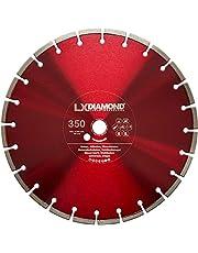 LXDIAMOND Diamantkapskiva 350 mm x 25,4 mm för betong, stålbetong, tvättbetong, sten och mycket mer – diamantskiva i premiumkvalitet för vinkelslip 350 mm