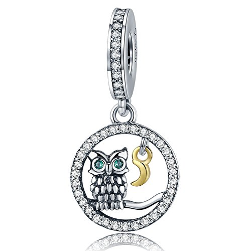 PHOCKSIN Singing Wise Owl in The Circle 925 Sterling Silver Animal Pendant Charms fits Bracelets