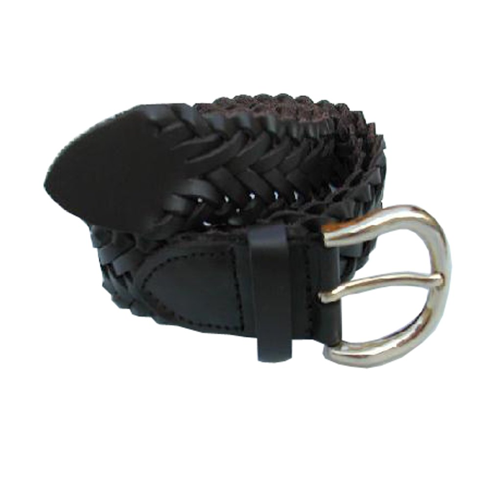 Mens Braided Genuine Leather Belt With Silver Buckle