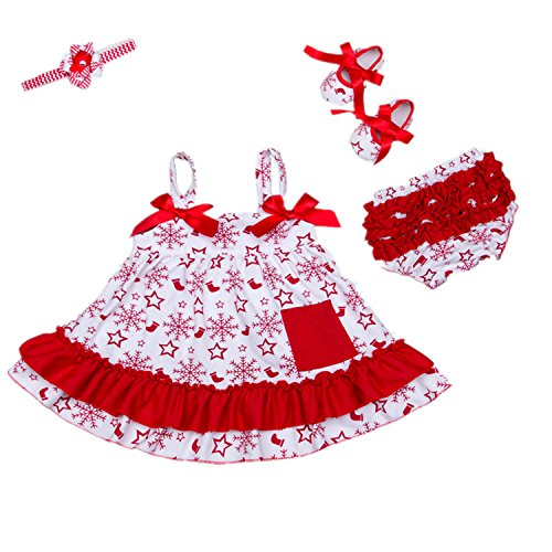 Bigface Up Baby girls Ruffle Bowknot Halloween Dress 4PCS Outfits