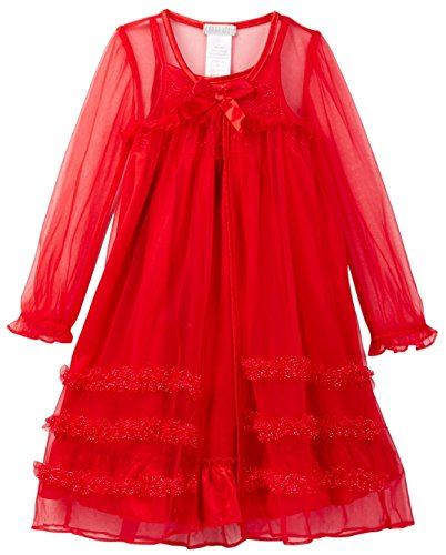 Komar Kids Little Girls' Toddler 2 Piece Pajama Set Peignoir Nightgown- Red , Size 4T