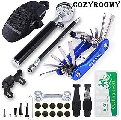 COZYROOMY Kit Herramientas Bicicleta,Reparación de pinchazos Bicicleta, 210 PSI Mini Pump, Herramienta 10 en 1 (con Separador de Cadena), Palancas de neumáticos y 10 Parches,1 Bolsa de sillín.: Amazon.es: Deportes y aire libre