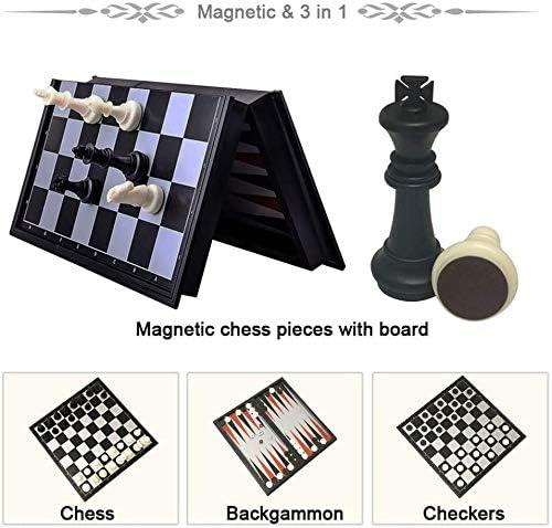 LMDH Toys Spelletjes Schaken 3 in 1 Schaken Dammen Backgammon Set Travel Plastic Chess Game Magnetic Schaken