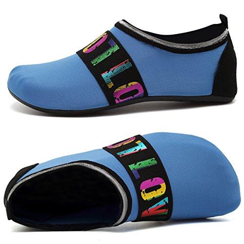 ANLUKE Water Sports Barefoot Shoes Quick-Dry Aqua Yoga Socks Slip-On For Men Women Kids F Blue/Love VHCNif