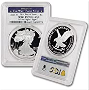 2021 W 1 oz Proof American Silver Eagle PR-70 Deep Cameo (First Day of Issue - Type 2 - Struck at West Point M