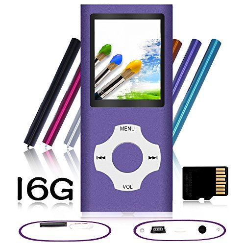 Tomameri – Rhombic Button MP3 / MP4 Player, Digital and Portable Music Player (a 16GB Micro SD Card Included), Supporting E-Book Reader, Photo Viewer and Video – Purple