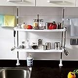Baoyouni Adjustable Spice Rack,2-Tier Cabinet Organizer with Towel Bar