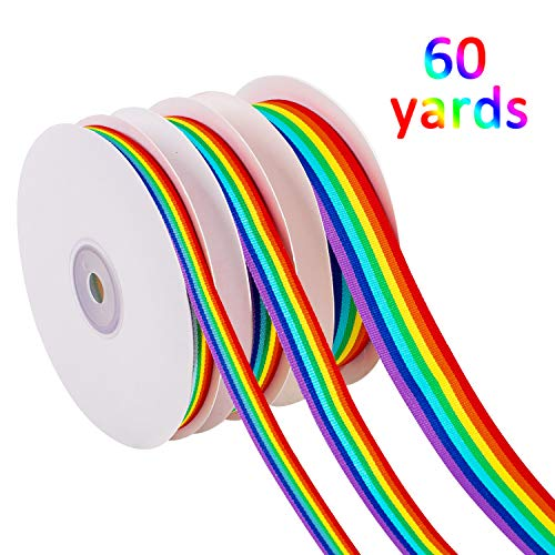 Whaline 60 Yards Rainbow Grosgrain Ribbons, Double Sided Rainbow Stripes Ribbons for Wrapping Gift Party Decoration Gay Pride Day DIY Handmade Crafts (1cm, 1.5cm, 2.5cm in Width)