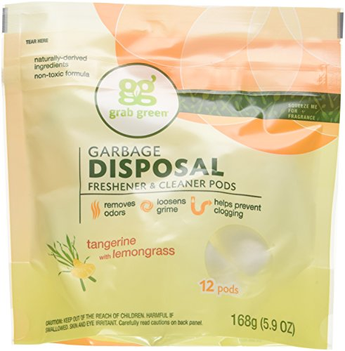 Grab Green Naturally-Derived, Mineral-Based Garbage Disposal Cleaner & Freshener, Tangerine with Lemongrass, 12 Pods (4-Pack)