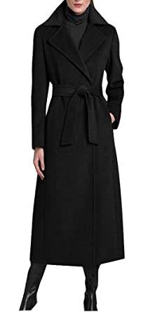 d7d5ca225cc9b Image Unavailable. Image not available for. Color  GESELLIE WoMen s Black  Single Breasted Lapel Full-Length Wool Blend Pea Coat with Belt