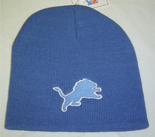 Embroidered Cap Reebok (New! NFL Detroit Lions Cuffless Beanie Blue Embroidered Skull Cap)