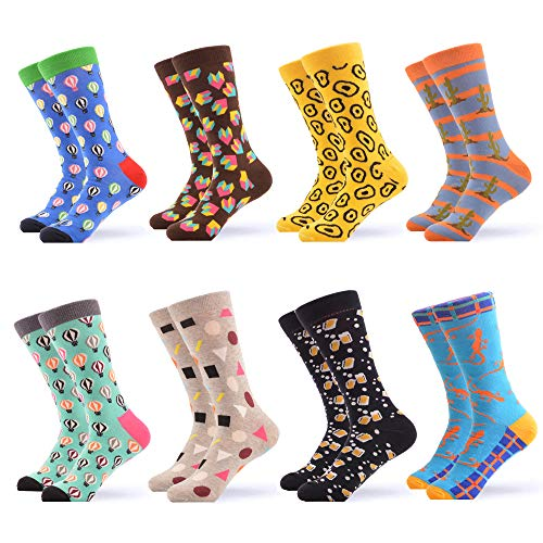 WeciBor Men's Dress Cool Colorful Fancy Novelty Funny Casual Combed Cotton Crew Socks Pack (058-61)