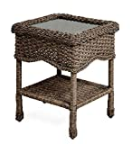Cheap Prospect Hill Wicker End Table with Glass Tabletop, Beach House Walnut