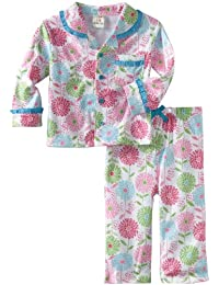Absorba Baby Girls Pink Blue Trim Floral Print Button 2 Pc Pajama Set 12-24M