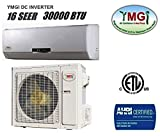 YMGI 30,000 BTU 16 SEER Ductless Mini Split DC Inverter Air Conditioner Heat Pump System - 208-230V 1HP 60 Hz with Free 25 Feet Installation Kit