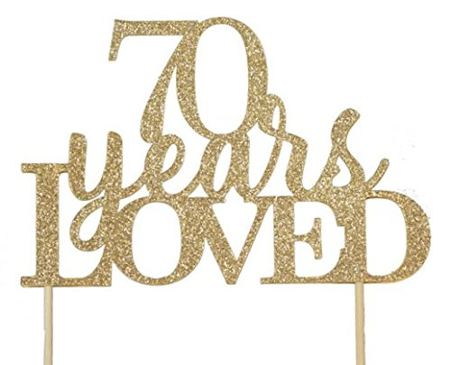 All About Details Gold 70-Years-Loved Cake Topper