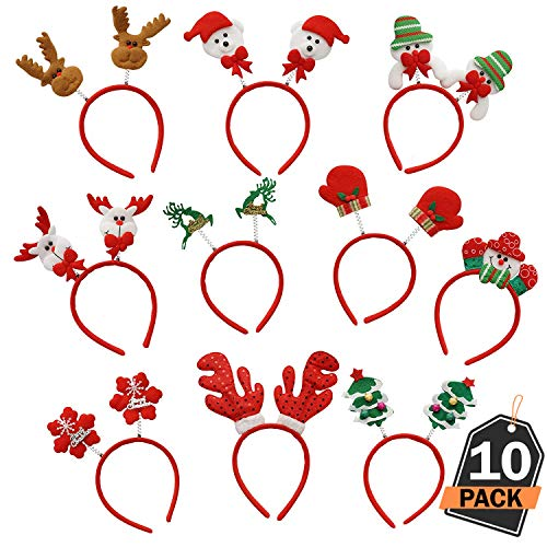 Scale Rank Christmas Headbands 10 Piece Set, Stylish Christmas Theme Headbands, One Size Fits All, for Christmas Parties, Photo Booth and Party Favors