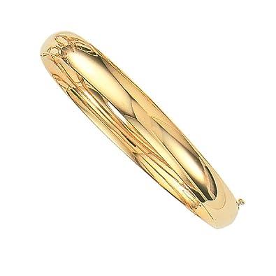 bbb9c535a653 Amazon.com  RCI 14K Yellow Gold Shiny Hinged Bangle Bracelet 6Mm
